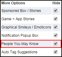 Hide / Remove the People You May Know box on Facebook with FB Purity's Hide People You May Know option